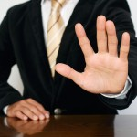 "Businessman gesture ""stop"""