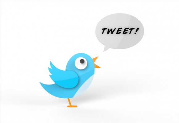 Cute twitter bird tweeting a message.