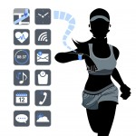 Smart watch concept with healthy fitness woman in silhouette.